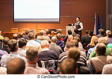 conferência, presentation., orador, negócio