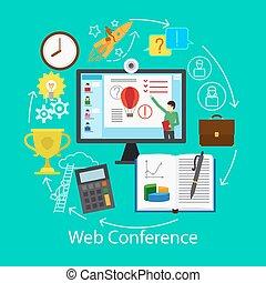 conferência, teia, conceito