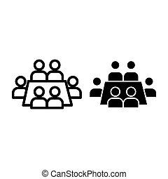 conferência, teia, estilo, white., 10., esboço, negócio, isolado, ilustração, eps, app., vetorial, projetado, icon., linha, reunião, desenho, seminário, glyph