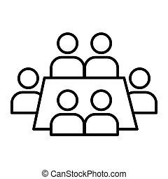 conferência, teia, estilo, white., 10., esboço, negócio, isolado, ilustração, eps, app., vetorial, projetado, icon., linha, reunião, desenho, seminário, magra