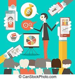 conferência, telefones, ilustração, célula, vetorial, mãos, homem negócios, reunião, ou