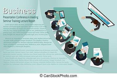 conferência, treinamento, apresentação negócio, relatório, conferência, reunião, seminário