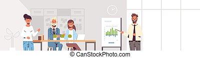 conferência, treinamento, conceito, financeiro, espaço escritório, gráfico, modernos, inverter, homem negócios, mapa, businesspeople, apresentando, reunião, interior, retrato, horizontais, equipe, apresentação, co-working