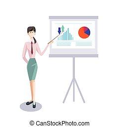 conferência, treinamento, mulher, financeiro, negócio, gráfico, carta aleta, brainstorming, apresentação, seminário