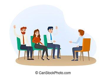 conferência, treinamento, negócio, room., equipe, seminário