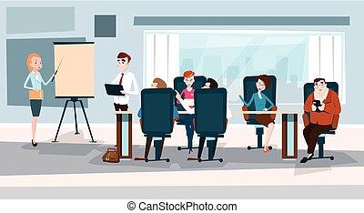 conferência, treinamento, pessoas negócio, mapa, inverter, ...