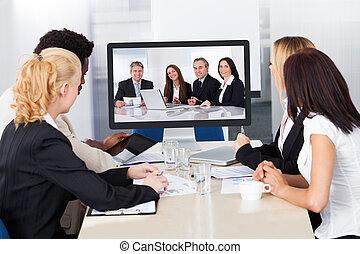 conferência, vídeo, escritório