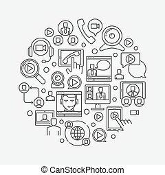 conferência, vídeo, ilustração