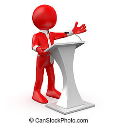conferência, vermelho, falando, homem