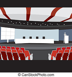 conferência, vetorial, corredor, ilustração