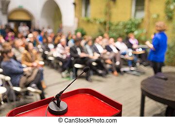 conference., スピーカー, 女性, ビジネス