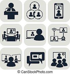 conference., affari, communication., video