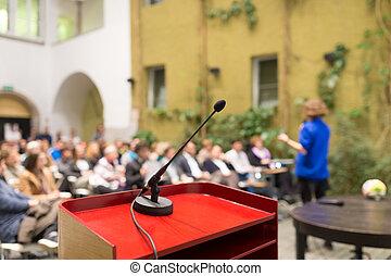 conference., altoparlante, femmina, affari