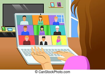 A vector illustration of Conference Call Working From Home Online Meeting Concept