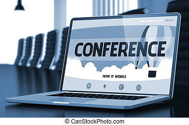 Conference Concept on Laptop Screen. 3D.