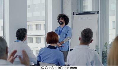 conference., groupe, présentation, monde médical, écoute, ...