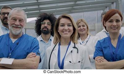 conference., hôpital, groupe, monde médical, médecins, debout