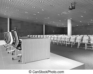 Conference hall with presidential table and chairs.
