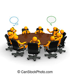 Orange cartoon characters behind a round conference table.