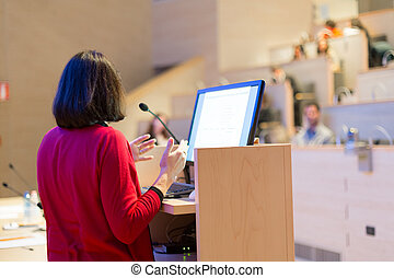 conference., orateur, femme, business