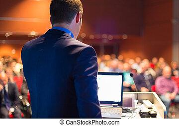 conference., orateur, public, business