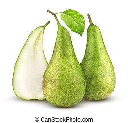 Conference pears isolated on white background.