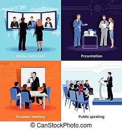 Conference Public Presentation 4 Flat Icons - Public...
