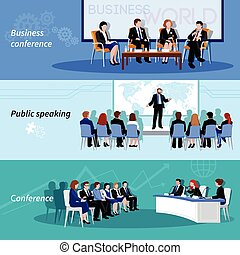 Conference Public Speaking 3 Flat Banners - Business...