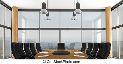 Black and wooden conference room - rendering - the image on background is a my photo