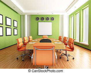 Conference room - green and orange conference room -...