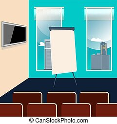 Conference Room Interior with Chairs, TV set and Board. Vector background