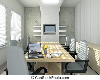 Conference room - Laptop background is my own image. 3D ...
