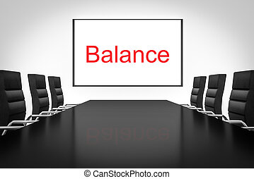 conference room large whiteboard balance illustration