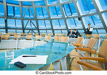 Conference room - Customary conference room: glassy table,...