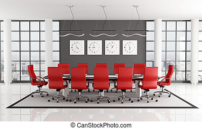 Conference room - red and black conference room - rendering...