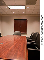 Conference Room Table and Leather Chairs