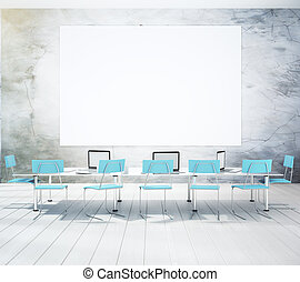 Conference room with blank picture frame and table, mock up