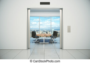 Conference room with city view is appeared from the elevator...