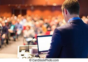 conference., spreker, publiek, zakelijk