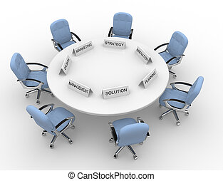 3d conference table - solution, management, marketing, strategy, promovation, planning