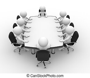 3d people - human character , person at a conference table. Leadership and team. 3d render illustration