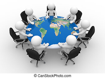 3d people - human character , person at a conference table with world map. 3d render