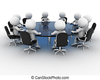 3d people - human character, person at conference table . Partnership. 3d render