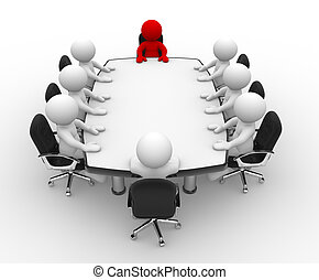 Conference table - 3d people - human character, person ....