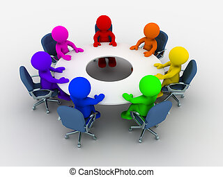 Conference table - 3d people - human character, person of ...