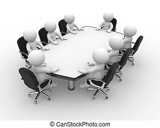 Conference table - 3d people - human character , person with...