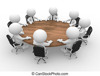 Conference table - 3d people - men, person at conference ...