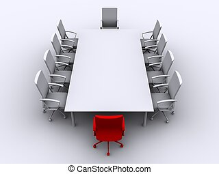 conference table - 3d rendered illustration of red and white...