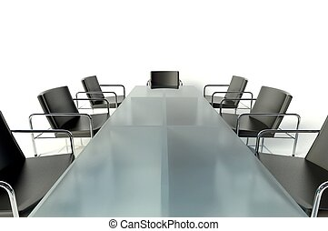 Conference table and armchairs, meeting room