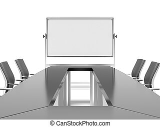 conference table and board for presentations isolated on a white background. 3d render